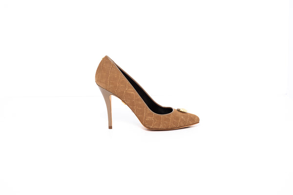 Tan Croco High Heel Pump