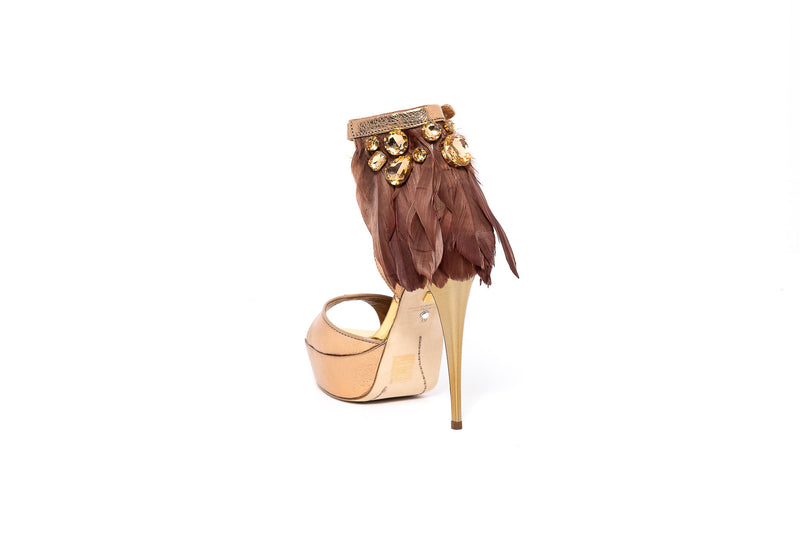 Rose Gold Feather High Heel Sandal