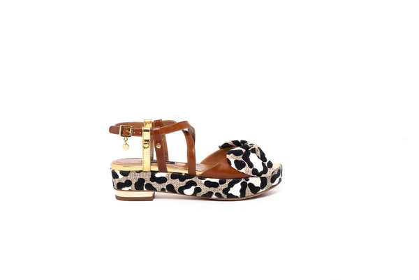 Tan and Leopard Print Flat Wedge Sandal