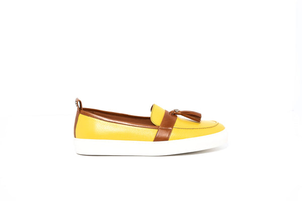 Yellow and Tan Loafer