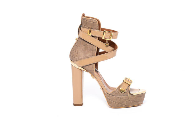 Croco Taupe High Heel Sandal