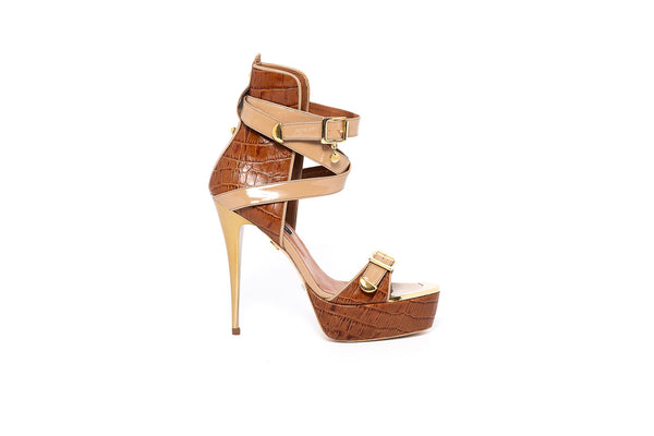 Croco Camel High Heel Sandal