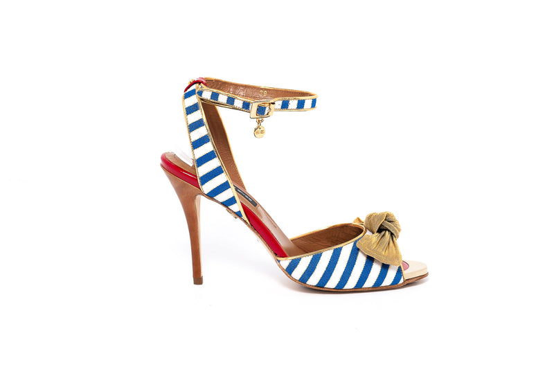 Sailor High Heel Sandal with Mesh Bow Detail