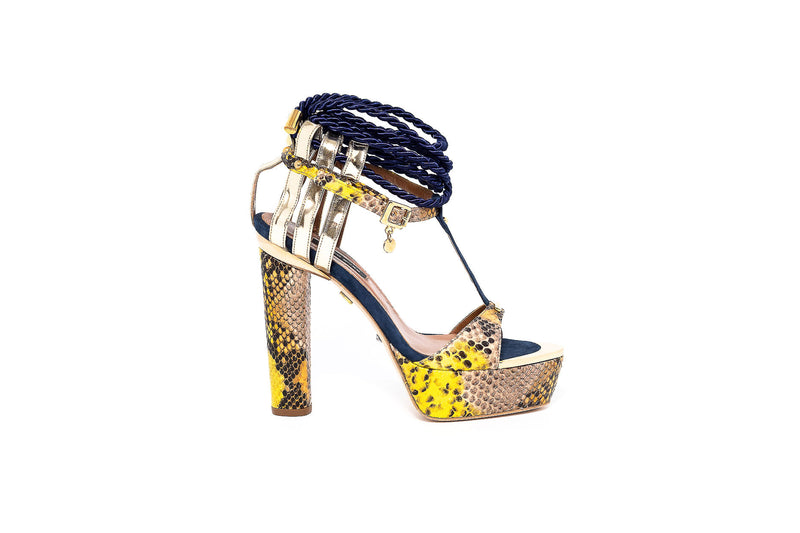 Piton Multi Giallo High Heel Sandal