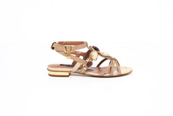 Nude Crystal Strappy Flat Sandal