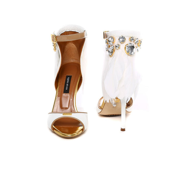 White Feather High Heel Sandal