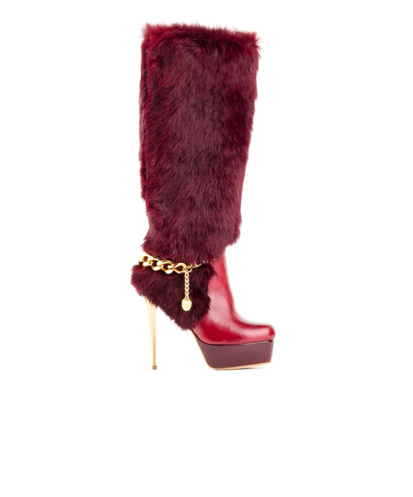 Bordeaux Leather High Heel Boot