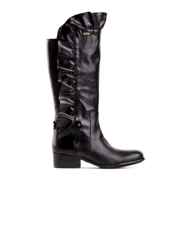 Black Leather Frill Cowboy Boot