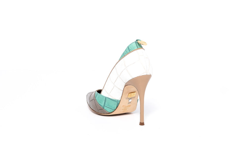 Nude White and Mint Croco Pump