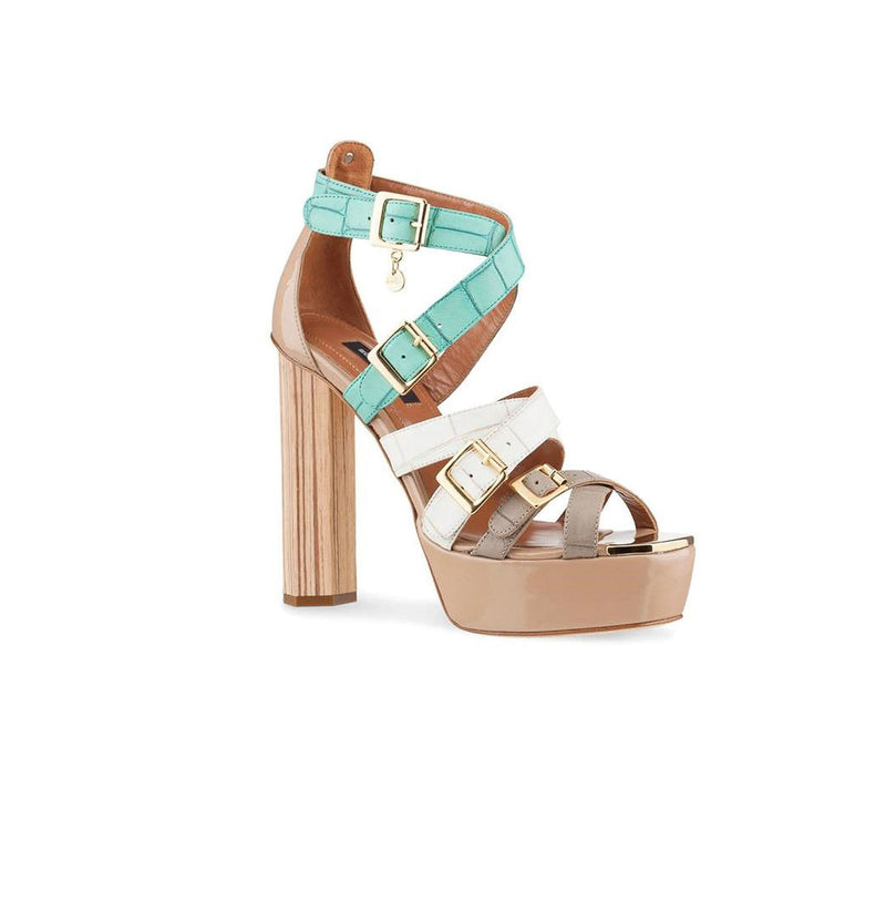 Nude White and Mint Croco Strappy Heel