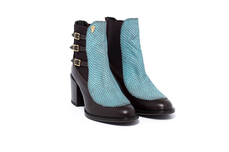 Tan And Aqua Ankle Boot