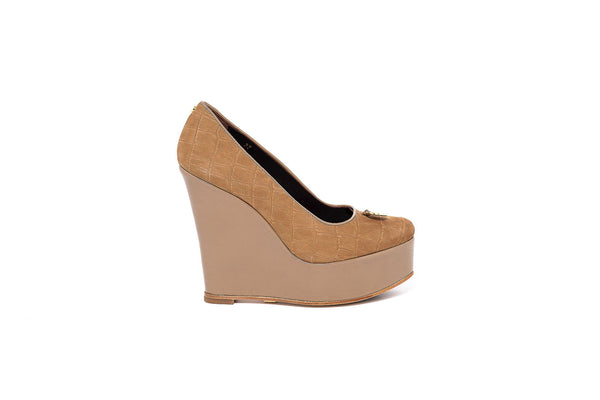 Tan Croco and Beige Patent Wedge