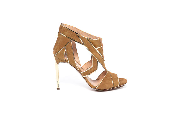 Tan Suede Gold Trim High Heel Sandal