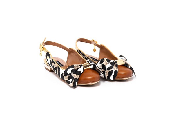 Tan and Leopard Print Closed Toe Flat Sandal