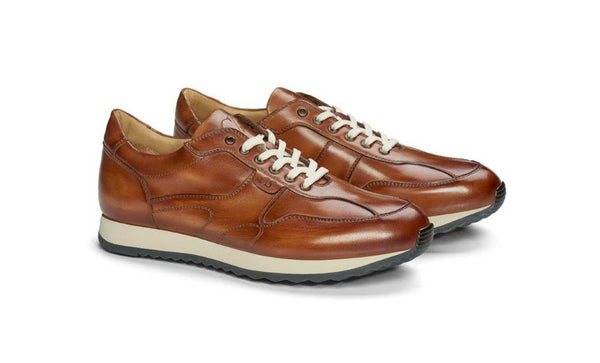 Mens Tan Patina Leather Sneaker