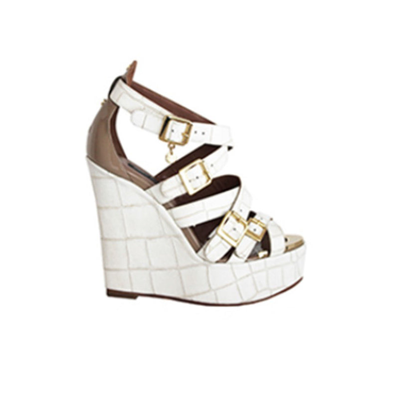 White Strappy Wedge Sandal