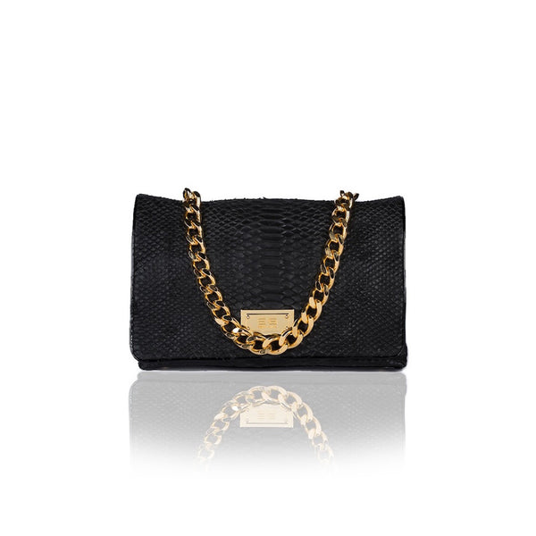 Capre Madrid Black And Black Patent Handbag - Womens Handbags
