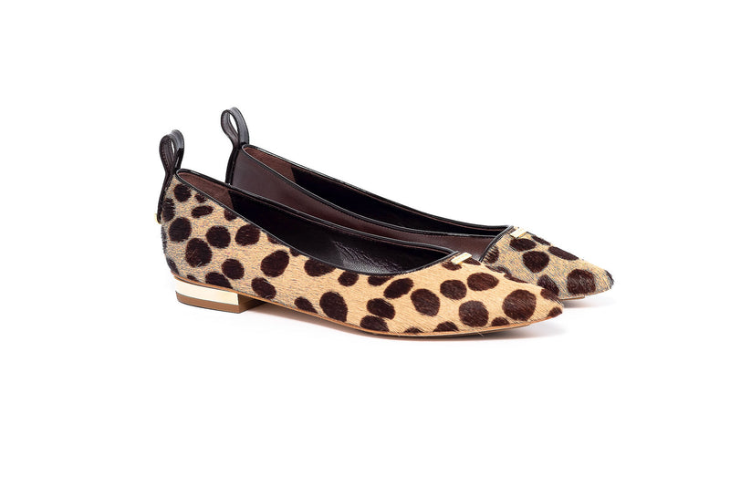 Pony and Brown Leather Cheetah Print Flat