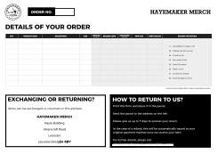 Hayemaker Merch Returns Form