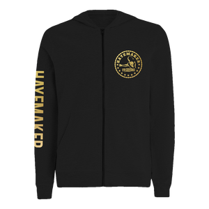 Vintage Range Gold on Black Zip Hoodie