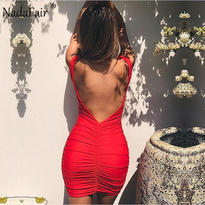 Name #17 - Nadafair V Neck Sleeveless Backless Sexy Bodycon Club Party Dress Women Mini Red White Wrinkled Casual Summer Dress,  - Wanderlust Coutures