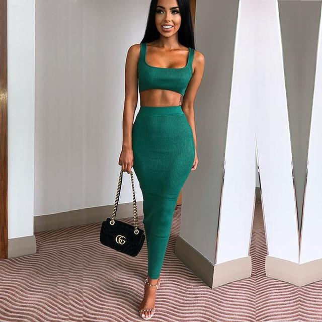 Havana Icon Ribbed Crop Top and Skirt Set, Sets - Wanderlust Coutures