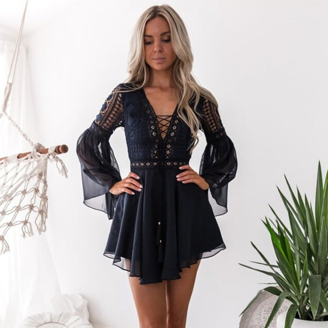 Hollow Out Chiffon Dress Sexy Women Mini Dress Criss Cross Bandage Lace Semi-sheer Plunge V-Neck Long Sleeve Dress Black/White,  - Wanderlust Coutures
