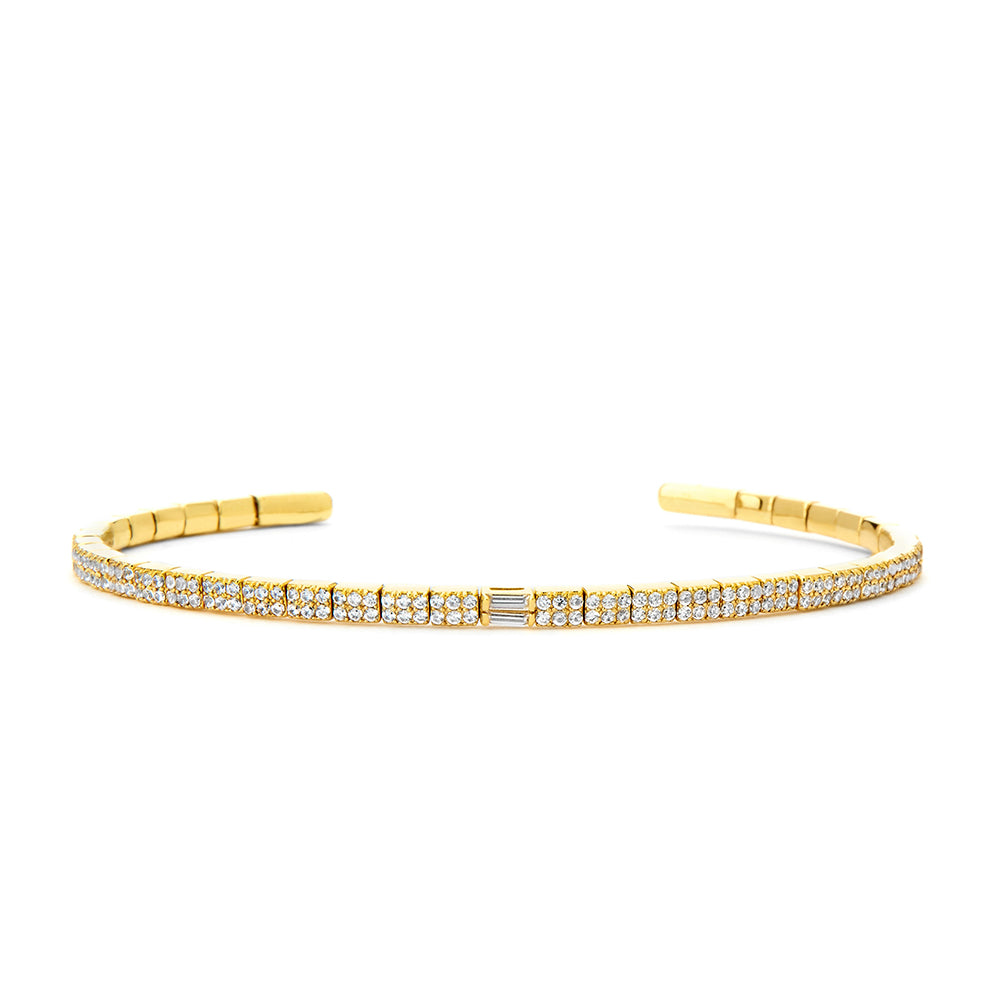 PHASE - Diamond Pave Double Baguette Flexible Cuff