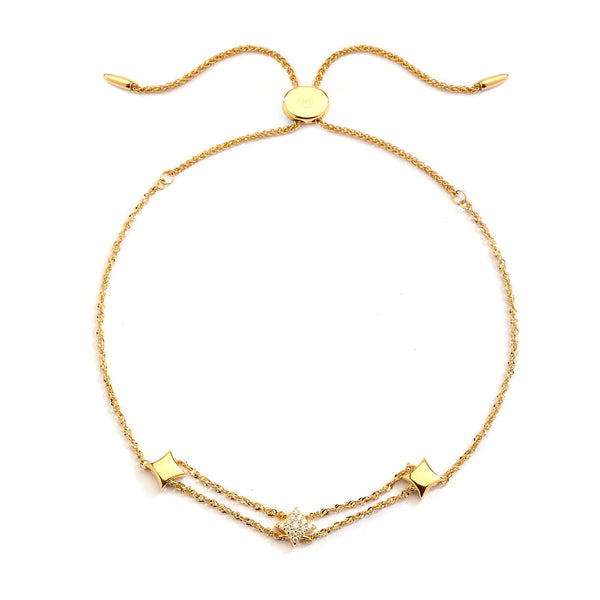 AURORA - Pave and Gold Star Bolo Bracelet