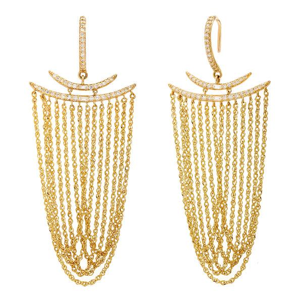 ECLIPSE - Diamond Pave Baguette Double Crescent Multi-Chain Statement Earrings
