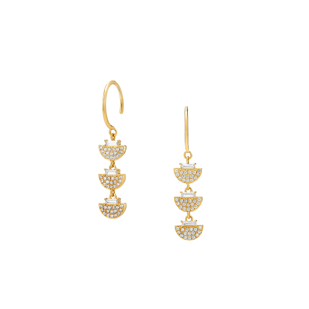 PHASE - Diamond Pave Baguette Half Moon Linear Drop Earrings