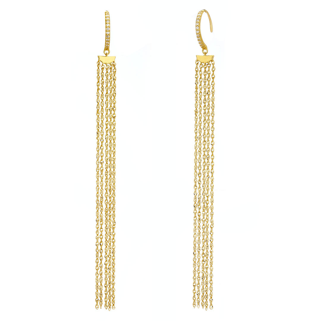 PHASE - Long Fringe C-Hook Earrings
