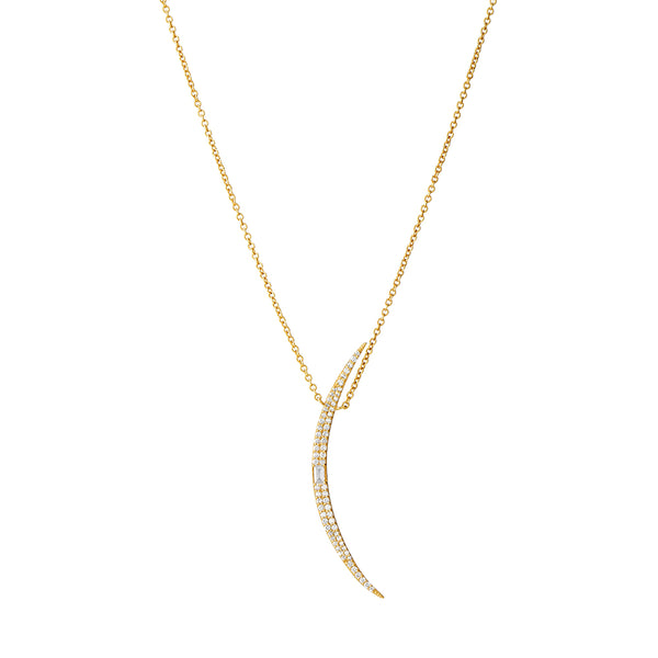 ECLIPSE - Diamond Pave Baguette Grand Crescent Necklace