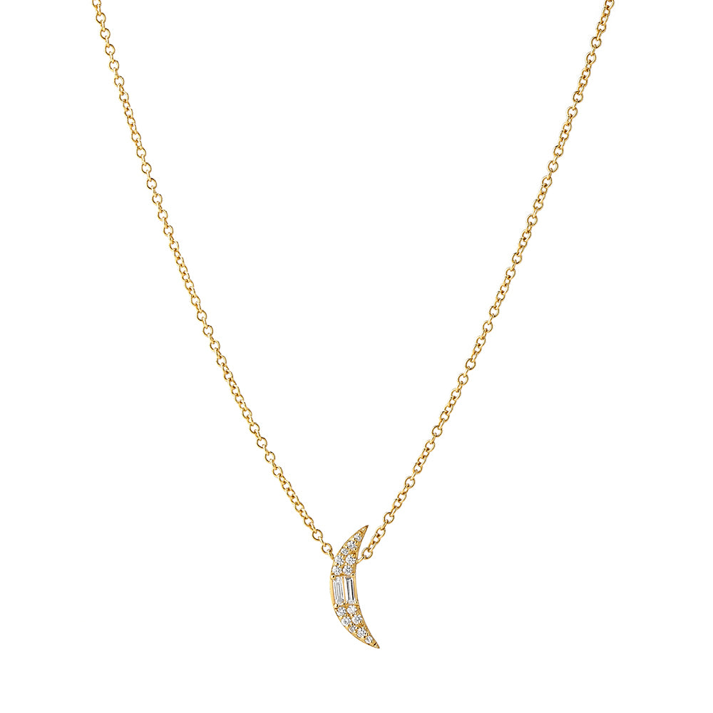 ECLIPSE - Diamond Pave Petite Crescent Necklace