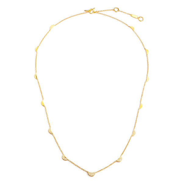 PHASE - Pave and Gold Multi Crescent Station Necklace