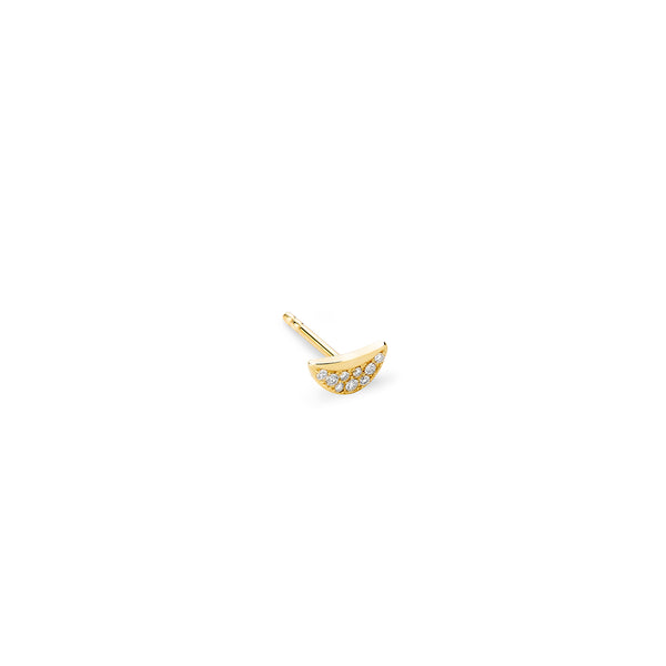 PHASE - Diamond Pave Quarter Moon Stud Earring (Single)