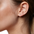 PHASE - Diamond Pave Crescent Stud Earring (Single)