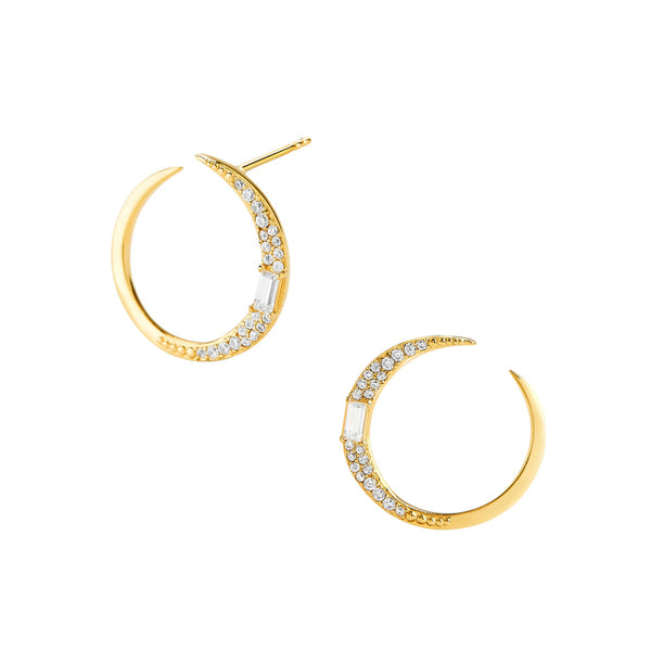ECLIPSE - Diamond Pave Crescent Wrap Around Hoop Earrings