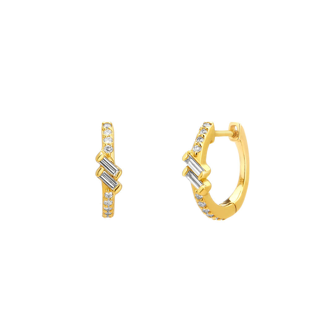 PHASE - Petite Double Baguette Pave Huggie Earrings