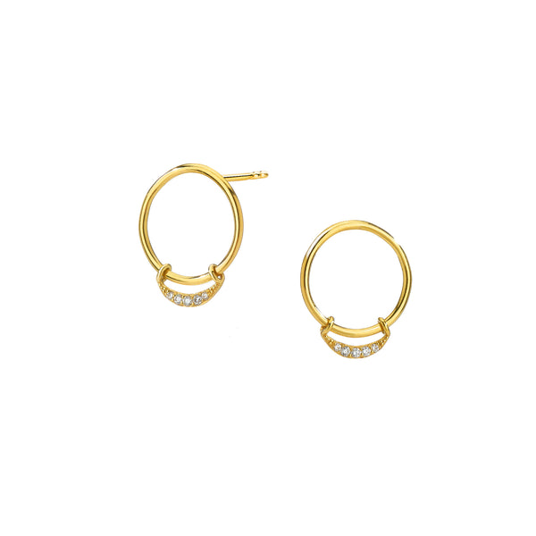 ECLIPSE - Petite Crescent Hoop Drop Earrings