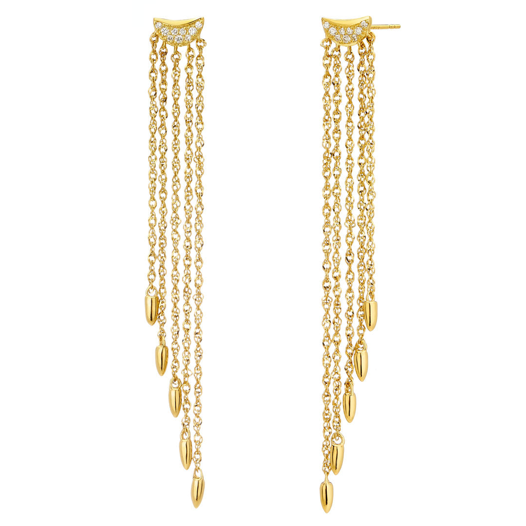PHASE - Pave Crescent Tapered Five Row Chain Fringe Earrings