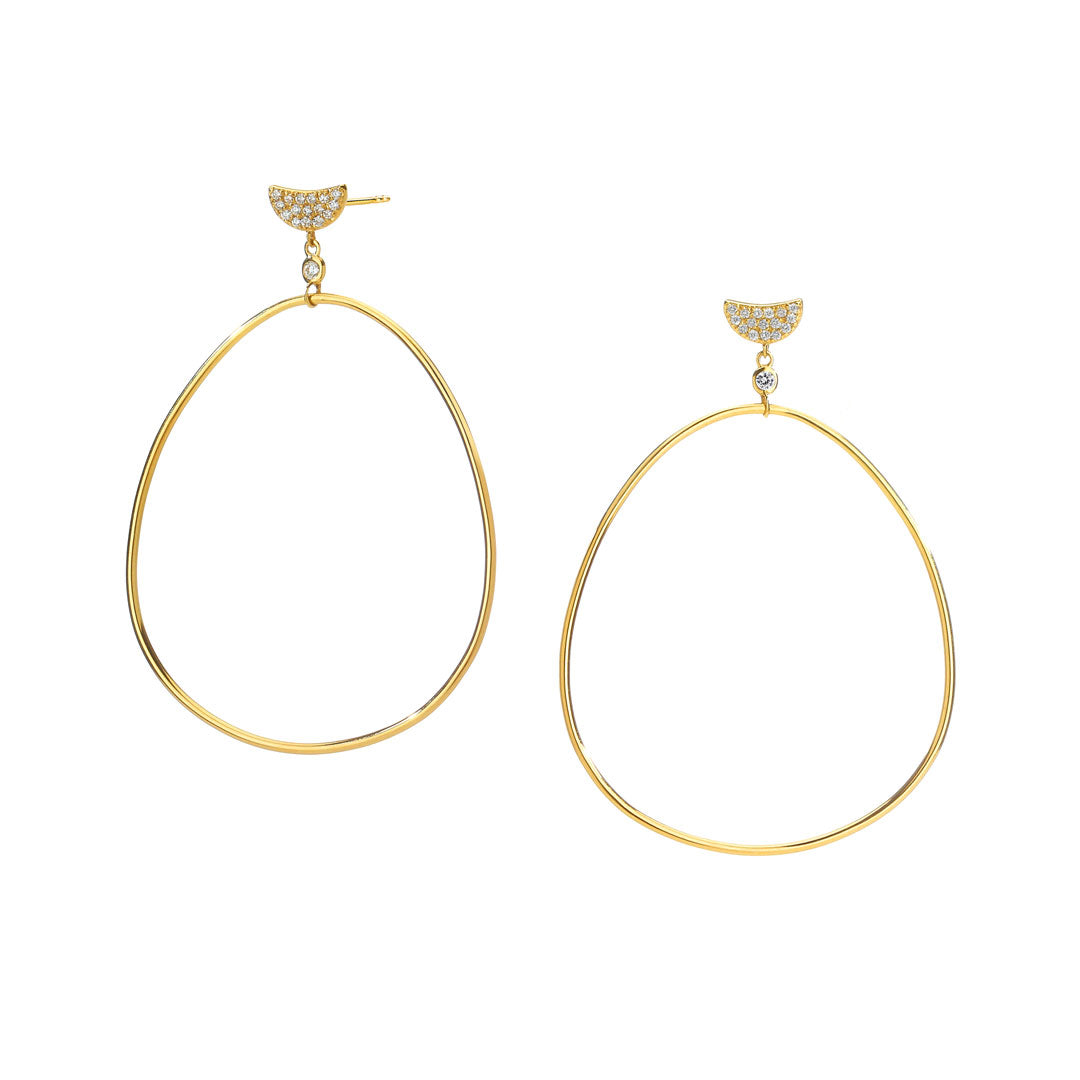 PHASE - Pave Crescent Frontal Hoop Drop Earrings
