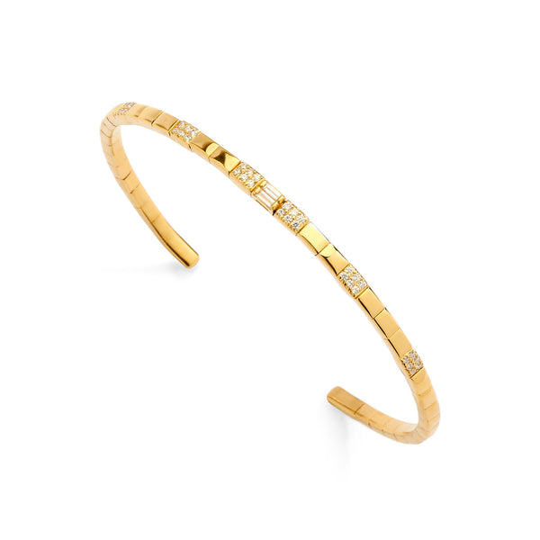 PHASE - Gold Double Baguette Pave Station Flexi Cuff