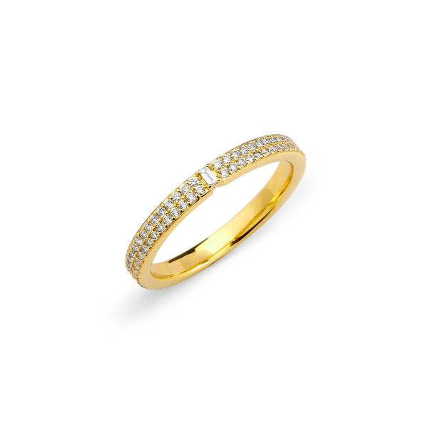 PHASE - Double Row Pave and Baguette Band