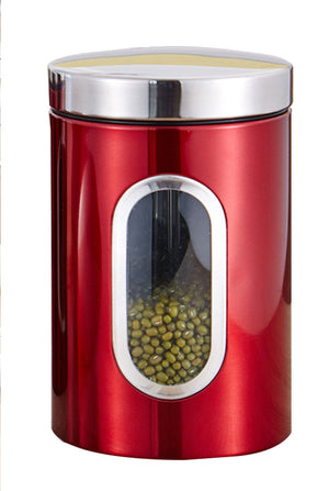 Beautiful stainless steel airtight tea canister with content window in red
