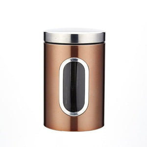 Beautiful stainless steel airtight tea storage canister with content window in copper