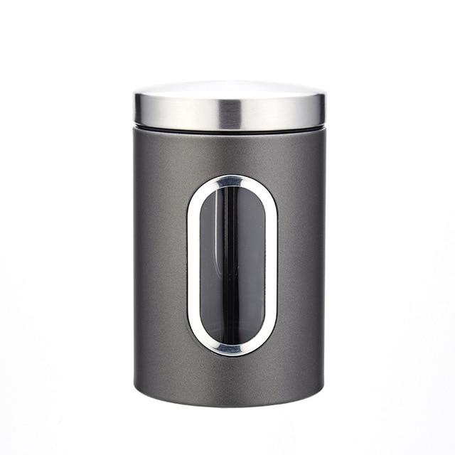Beautiful stainless steel airtight tea storage canisters with content window on kitchen counter