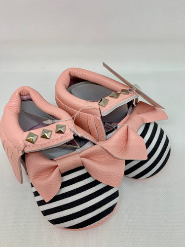Pink, Black and White Bow Moccasins