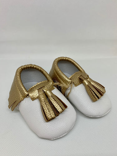 Gold and White Moccasins