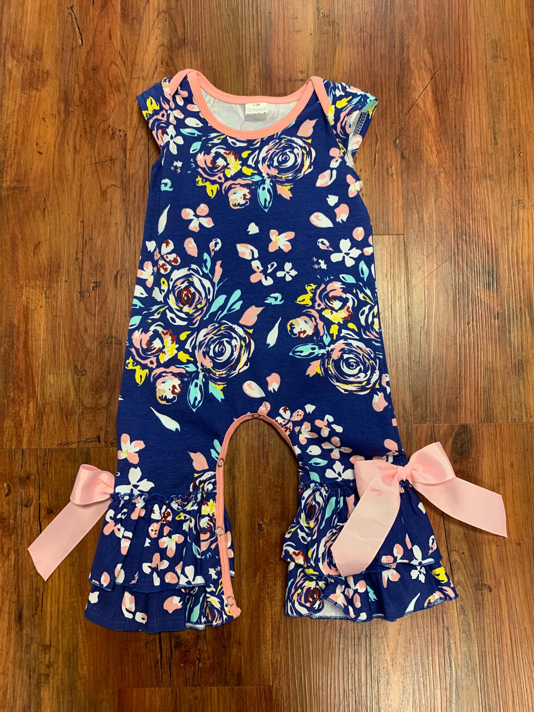Blue Floral Sleeveless Romper